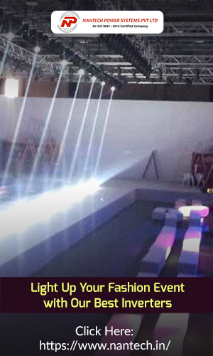Empty fashion runway podium stage interior with spotlights that portrays the concept of Uninterrupted power supply.